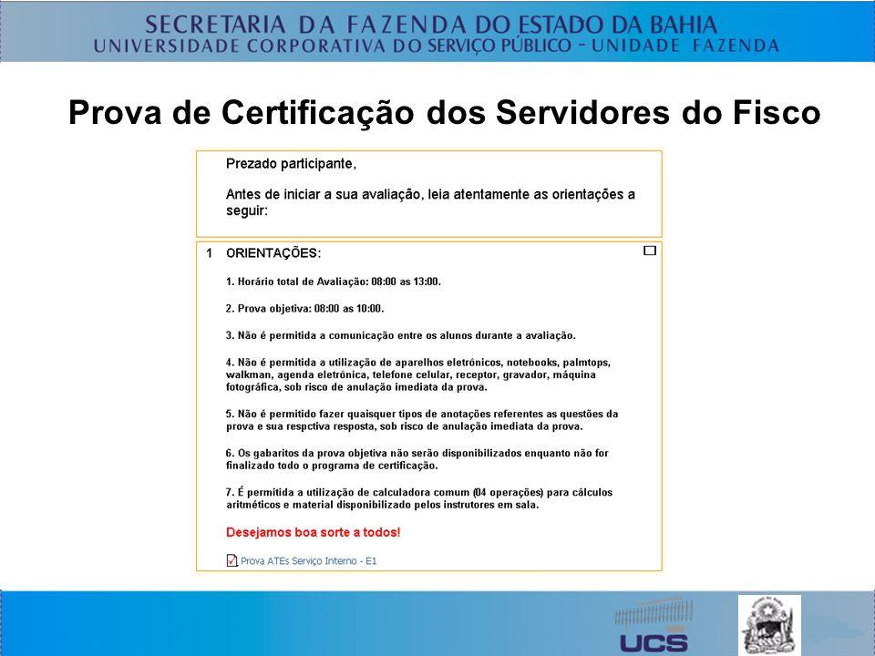 Prova de Certificação dos Servidores do Fisco