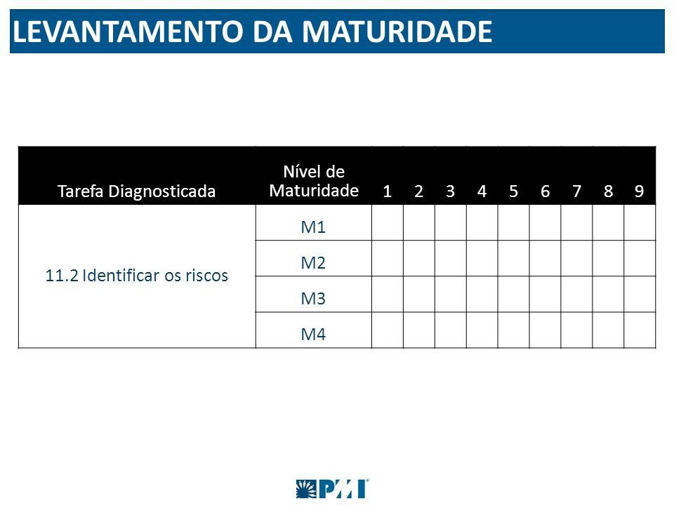 Tarefa Diagnosticada Nível de Maturidade123456789 11.2 Identificar os riscos M1 M2 M3 M4 LEVANTAMENTO DA MATURIDADE