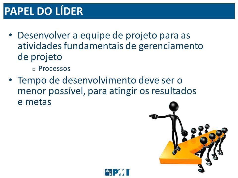 Desenvolver a equipe de projeto para as atividades fundamentais de gerenciamento de projeto Processos Tempo de desenvolvimento deve ser o menor possív
