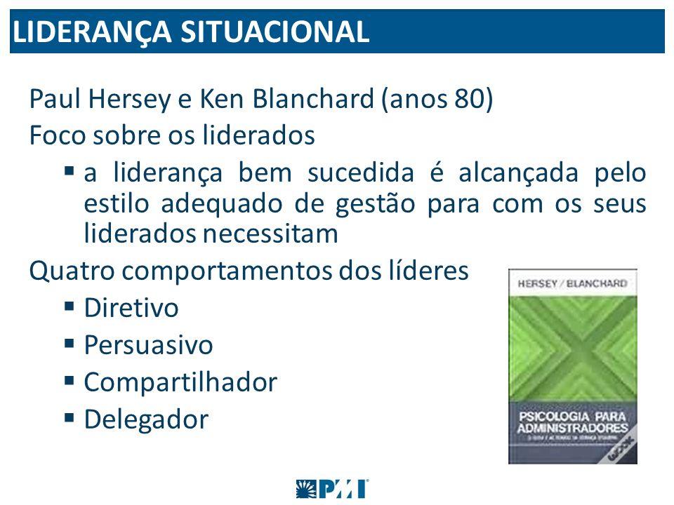 Paul Hersey e Ken Blanchard (anos 80) Foco sobre os liderados a liderança bem sucedida é alcançada pelo estilo adequado de gestão para com os seus lid