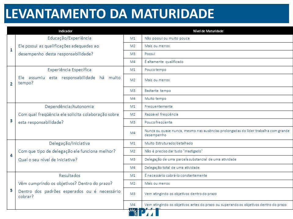 IndicadorNível de Maturidade 1 Educação/Experiência M1 Não possui ou muito pouca Ele possui as qualificações adequadas ao M2 Mais ou menos desempenho