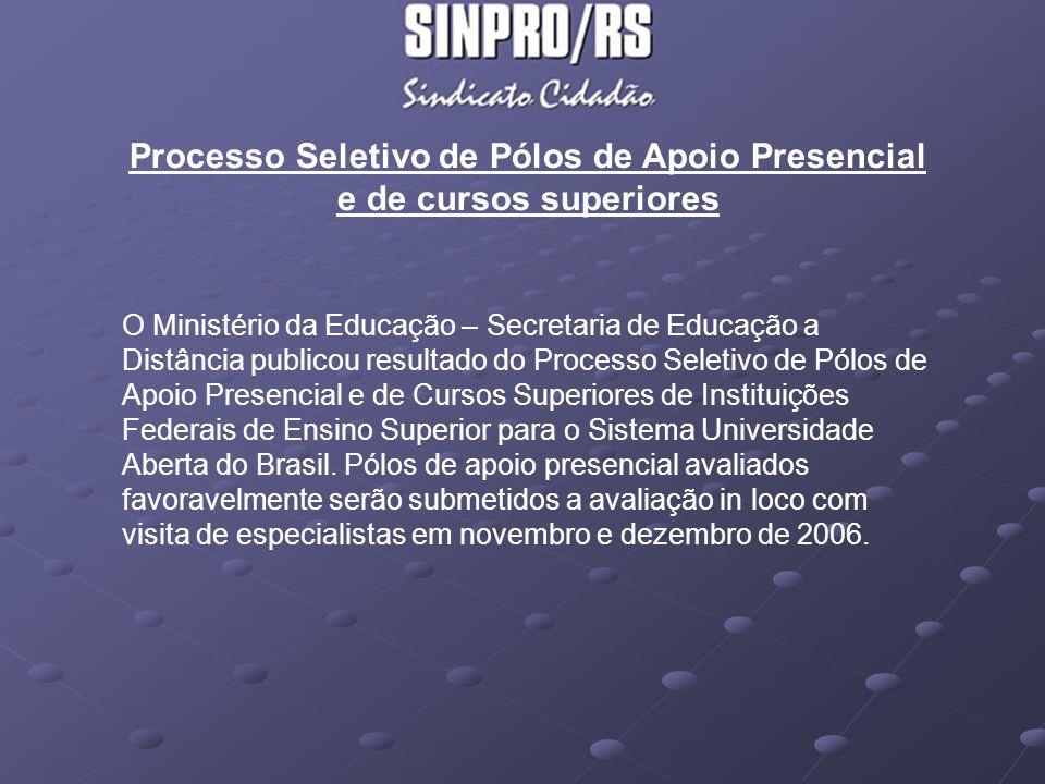 Processo Seletivo de Pólos de Apoio Presencial e de cursos superiores Projetos encaminhados - 1º grupo – 150 projetos de Pólos - previsão de início de funcionamento em junho de 2007 Região Centro oeste, Nordeste, Norte, Sudeste e Sul: * Paraná (Foz do Iguaçu 5, Paranaguá 3, Paranavaí 4, Pato Branco 7); * Rio Grande do Sul (Arroio dos Ratos 3, Pinhal 2, Constantina 4, Cruz Alta 5, Faxinal do Soturno 3, Herval 4, Mostardas 6, Restinga Seca 4, Santa Vitória do Palmar 6,Santana da Boa Vista 3,Santana do Livramento 5, Santo Antônio da Patrulha 6, São José do Polonese 5, São Jopsé do Norte 5, São Lorenço do Sul 8, Seberi 3, Sobradinho 3, Tapejara 4, Tio Hugo 4, Três de Meio 3, Três Passos 3); * Santa Catarina : (Treze Tílias 7, Videira 6)
