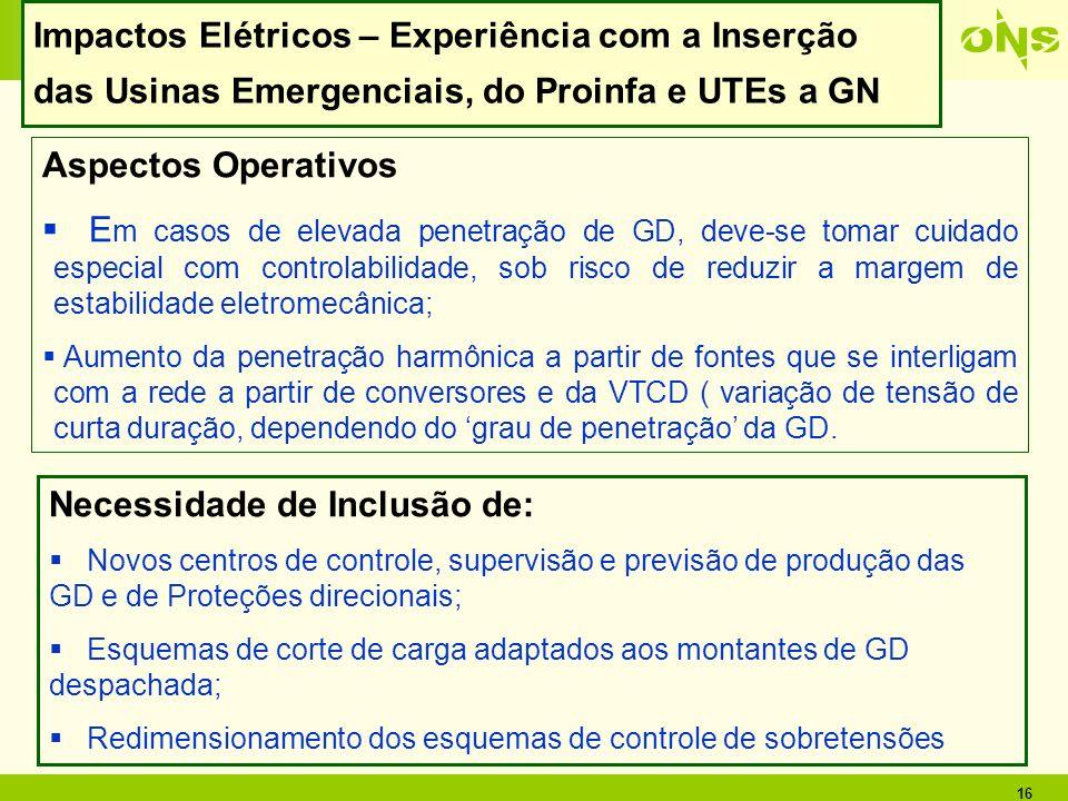 16 Impactos Elétricos – Experiência com a Inserção das Usinas Emergenciais, do Proinfa e UTEs a GN Aspectos Operativos E m casos de elevada penetração