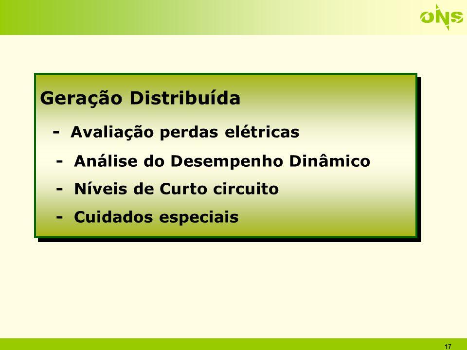 17 Geração Distribuída - Avaliação perdas elétricas - Análise do Desempenho Dinâmico - Níveis de Curto circuito - Cuidados especiais Geração Distribuí