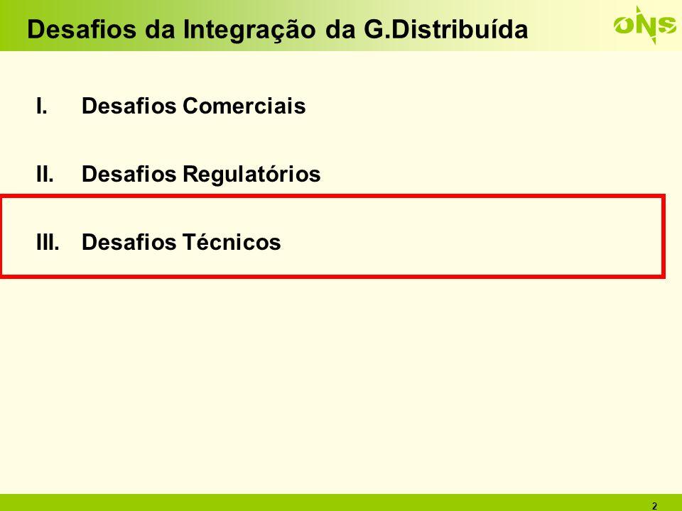 2 Desafios da Integração da G.Distribuída I.Desafios Comerciais II.Desafios Regulatórios III.Desafios Técnicos