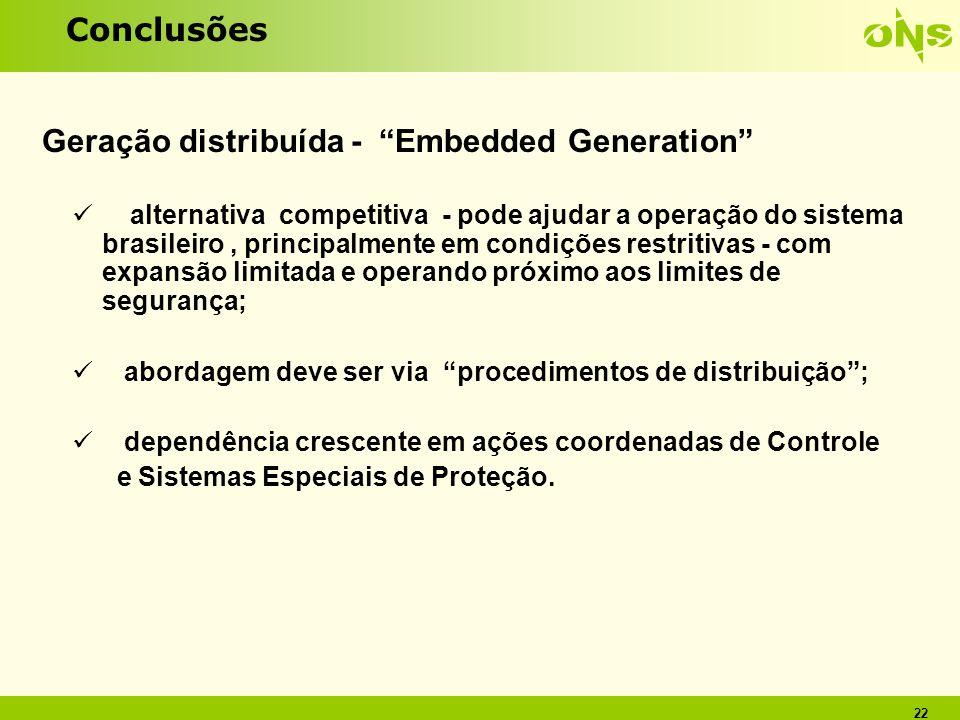 22 Conclusões Geração distribuída - Embedded Generation alternativa competitiva - pode ajudar a operação do sistema brasileiro, principalmente em cond