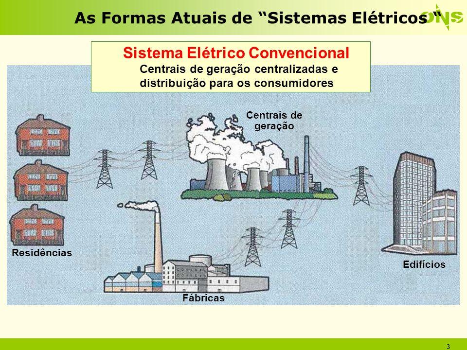 3 As Formas Atuais de Sistemas Elétricos Sistema Elétrico Convencional Centrais de geração centralizadas e distribuição para os consumidores Centrais