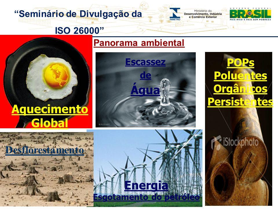 Panorama ambiental Aquecimento Global Escassez de Água POPs Poluentes Orgânicos Persistentes Energia Esgotamento do petróleo Seminário de Divulgação d