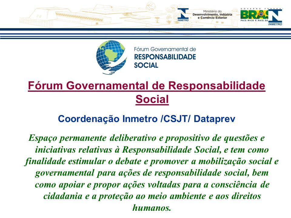 Fórum Governamental de Responsabilidade Social Coordenação Inmetro /CSJT/ Dataprev Espaço permanente deliberativo e propositivo de questões e iniciati