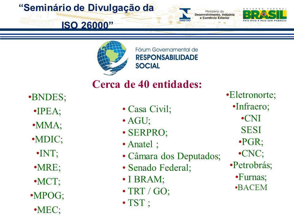 Cerca de 40 entidades: BNDES; IPEA; MMA; MDIC; INT; MRE; MCT; MPOG; MEC; Casa Civil; AGU; SERPRO; Anatel ; Câmara dos Deputados; Senado Federal; I BRA
