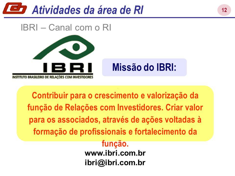 12 IBRI – Canal com o RI Contribuir para o crescimento e valorização da função de Relações com Investidores. Criar valor para os associados, através d