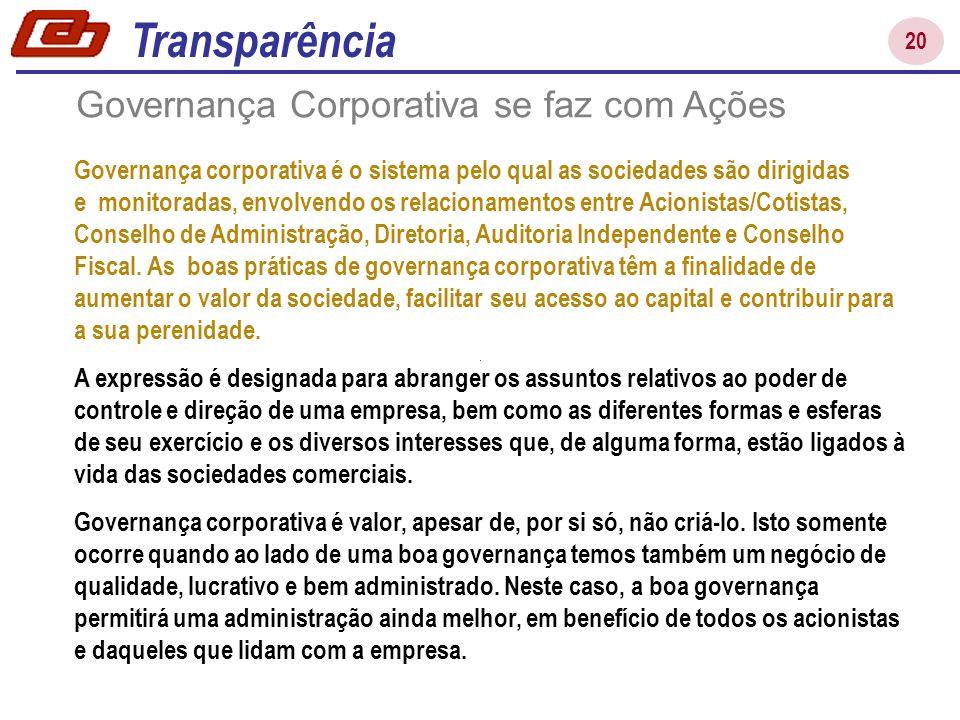 20 Governança Corporativa se faz com Ações Governança corporativa é o sistema pelo qual as sociedades são dirigidas e monitoradas, envolvendo os relac