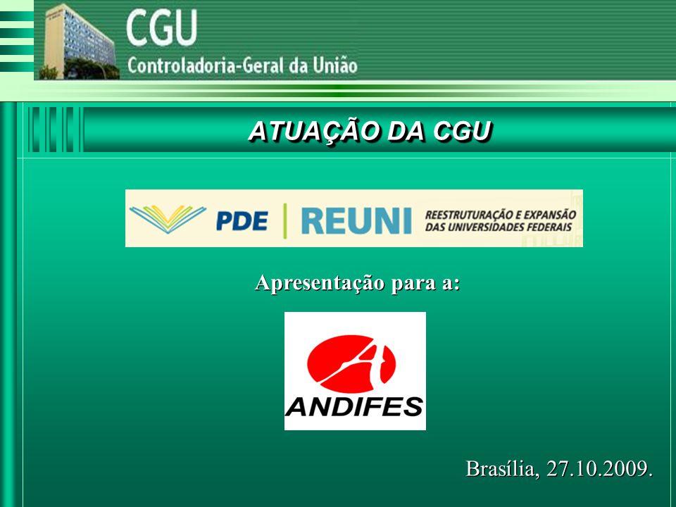 ATUAÇÃO DA CGU Apresentação para a: Brasília, 27.10.2009.