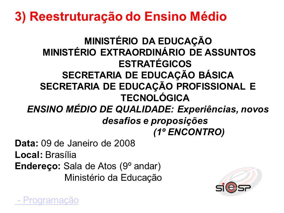 3) Reestruturação do Ensino Médio MINISTÉRIO DA EDUCAÇÃO MINISTÉRIO EXTRAORDINÁRIO DE ASSUNTOS ESTRATÉGICOS SECRETARIA DE EDUCAÇÃO BÁSICA SECRETARIA DE EDUCAÇÃO PROFISSIONAL E TECNOLÓGICA ENSINO MÉDIO DE QUALIDADE: Experiências, novos desafios e proposições (1º ENCONTRO) Data: 09 de Janeiro de 2008 Local: Brasília Endereço: Sala de Atos (9º andar) Ministério da Educação - Programação