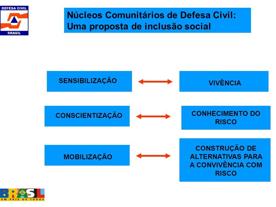 SENSIBILIZAÇÃO CONSCIENTIZAÇÃO MOBILIZAÇÃO CONSTRUÇÃO DE ALTERNATIVAS PARA A CONVIVÊNCIA COM RISCO CONHECIMENTO DO RISCO VIVÊNCIA Núcleos Comunitários