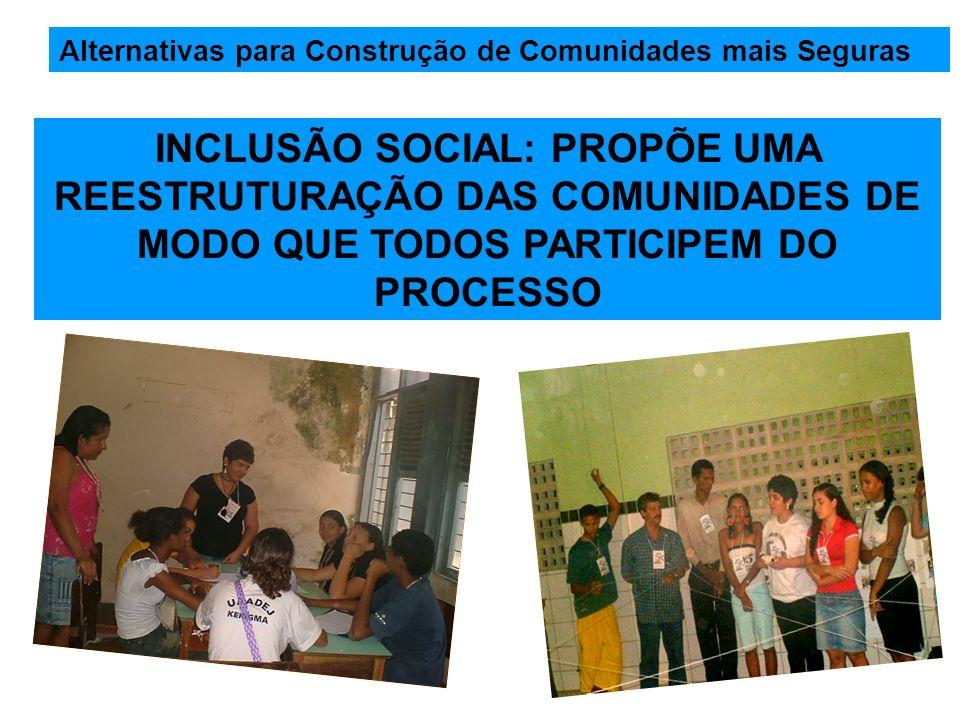 Alternativas para Construção de Comunidades mais Seguras INCLUSÃO SOCIAL: PROPÕE UMA REESTRUTURAÇÃO DAS COMUNIDADES DE MODO QUE TODOS PARTICIPEM DO PR