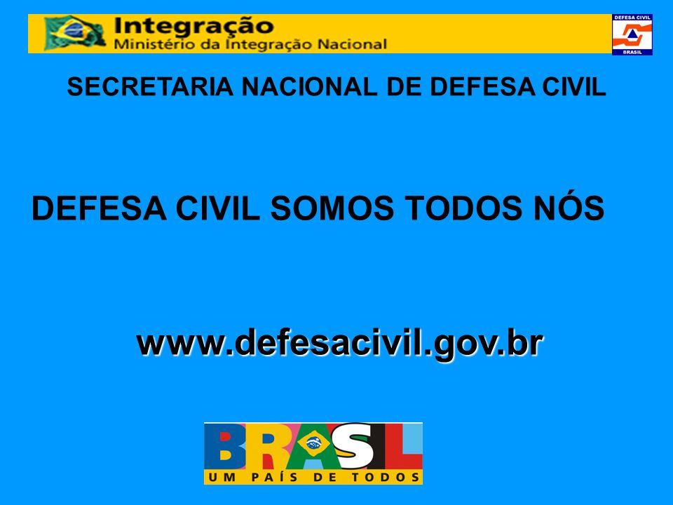SECRETARIA NACIONAL DE DEFESA CIVIL www.defesacivil.gov.br DEFESA CIVIL SOMOS TODOS NÓS