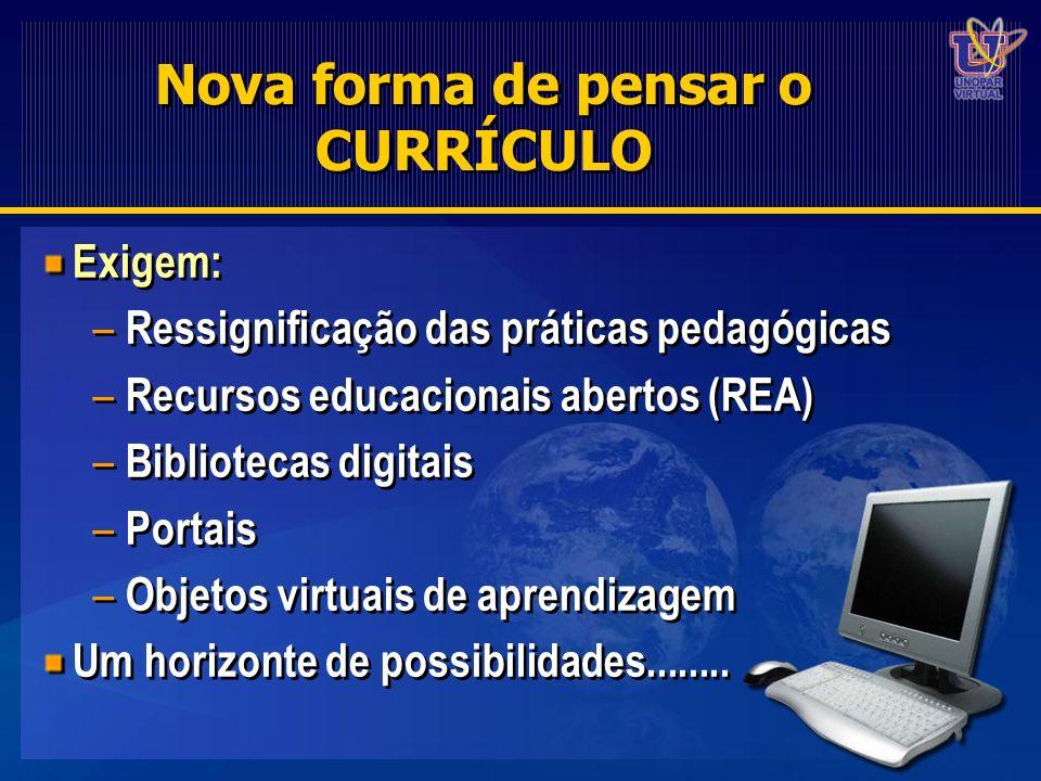 Nova forma de pensar o CURRÍCULO Exigem: – Ressignificação das práticas pedagógicas – Recursos educacionais abertos (REA) – Bibliotecas digitais – Por