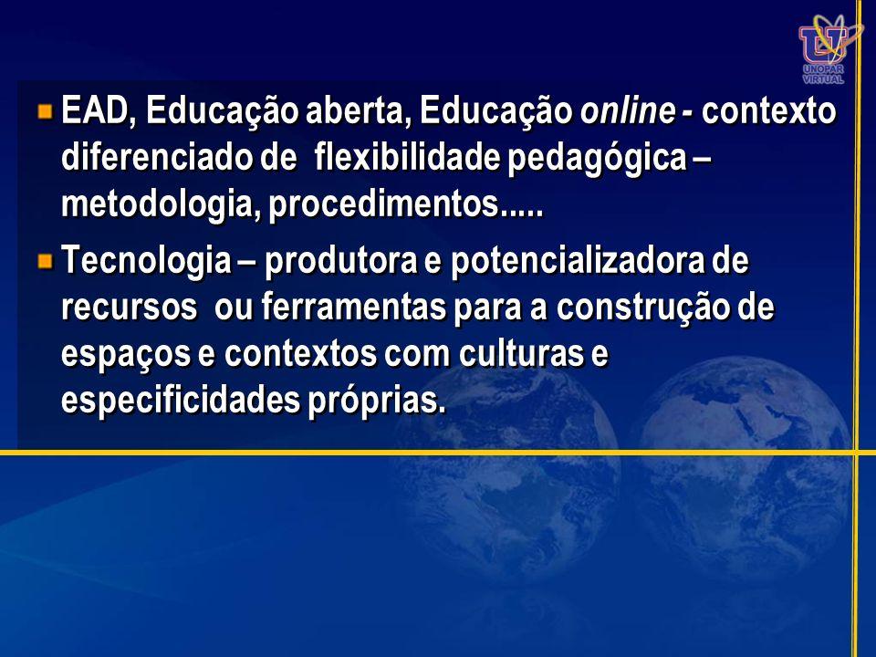 EAD, Educação aberta, Educação online - contexto diferenciado de flexibilidade pedagógica – metodologia, procedimentos..... Tecnologia – produtora e p
