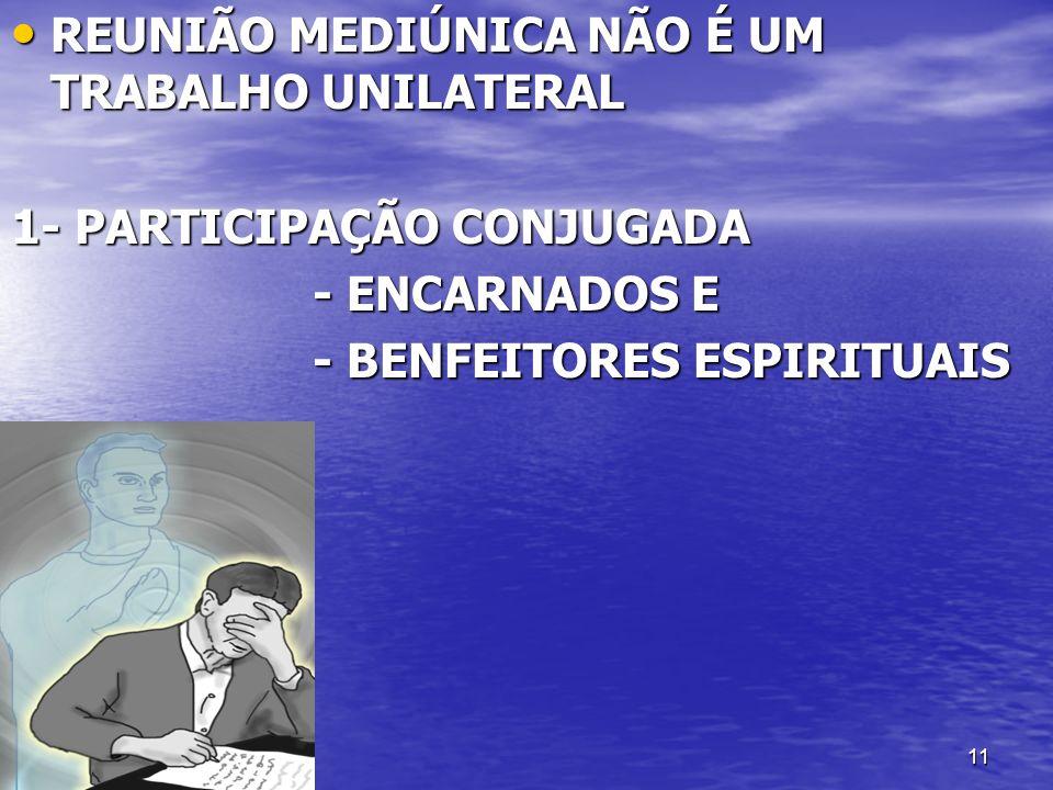 11 REUNIÃO MEDIÚNICA NÃO É UM TRABALHO UNILATERAL REUNIÃO MEDIÚNICA NÃO É UM TRABALHO UNILATERAL 1- PARTICIPAÇÃO CONJUGADA - ENCARNADOS E - ENCARNADOS