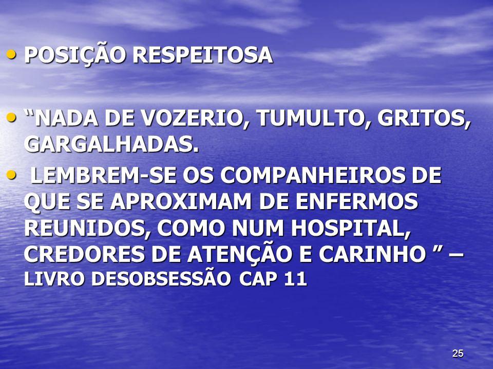 25 POSIÇÃO RESPEITOSA POSIÇÃO RESPEITOSA NADA DE VOZERIO, TUMULTO, GRITOS, GARGALHADAS. NADA DE VOZERIO, TUMULTO, GRITOS, GARGALHADAS. LEMBREM-SE OS C