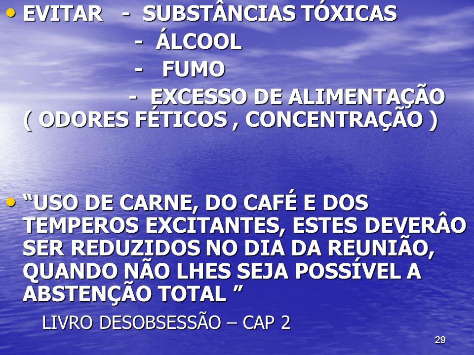 29 EVITAR - SUBSTÂNCIAS TÓXICAS EVITAR - SUBSTÂNCIAS TÓXICAS - ÁLCOOL - ÁLCOOL - FUMO - FUMO - EXCESSO DE ALIMENTAÇÃO ( ODORES FÉTICOS, CONCENTRAÇÃO )