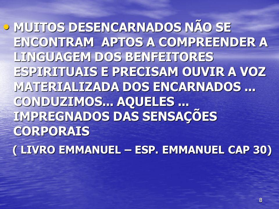 39 PRECEITOS DE EXPONTANEIDADE QUE OS ESCLARECEDORES NÃO DEVEM CONSTRANGER OS MÉDIUNS PSICOFÔNICOS A RECEBEREM OS DESENCARNADOS PRESENTES, REPETINDO ORDENS E SUGESTÕES, FATOR ESSENCIAL AO ÊXITO DO INTERCÂMBIO.