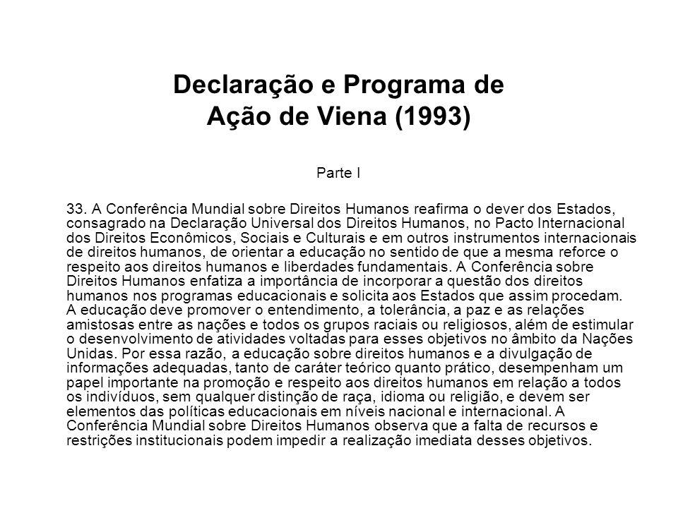 Declaração e Programa de Ação de Viena (1993) Parte I 33. A Conferência Mundial sobre Direitos Humanos reafirma o dever dos Estados, consagrado na Dec