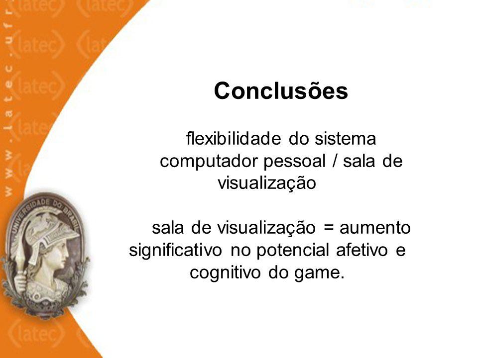 Conclusões flexibilidade do sistema computador pessoal / sala de visualização sala de visualização = aumento significativo no potencial afetivo e cognitivo do game.