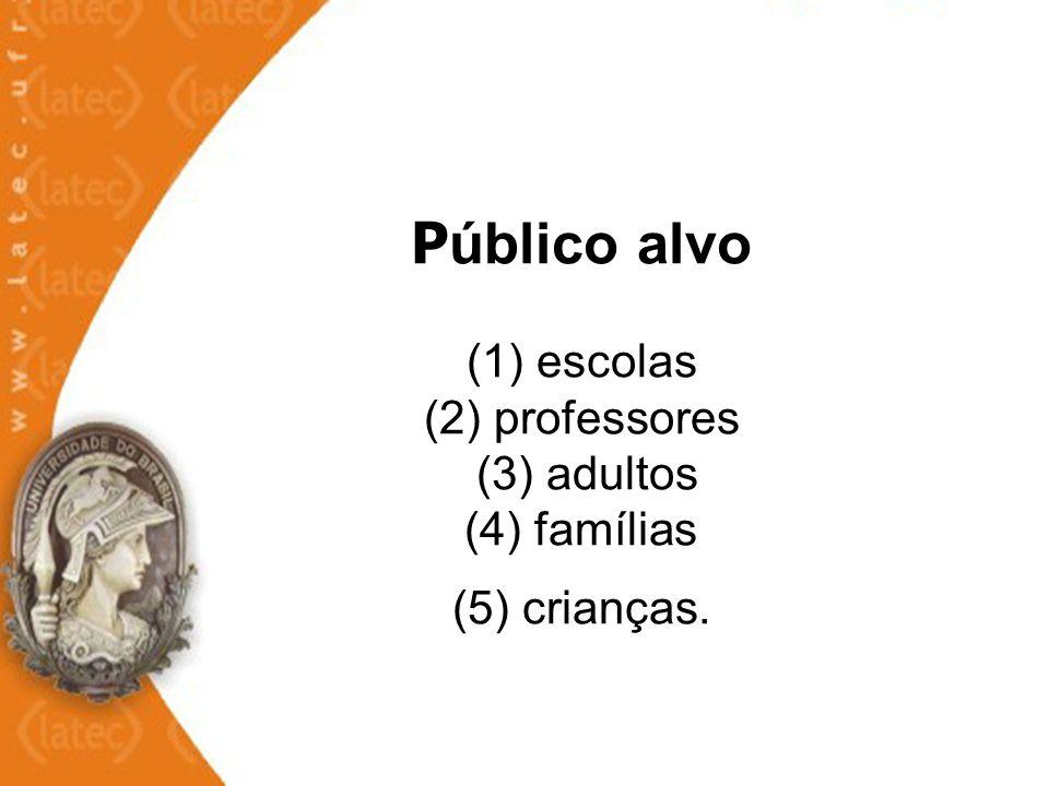 P úblico alvo (1) escolas (2) professores (3) adultos (4) famílias (5) crianças.
