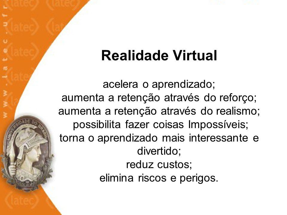 Realidade Virtual acelera o aprendizado; aumenta a retenção através do reforço; aumenta a retenção através do realismo; possibilita fazer coisas Impos