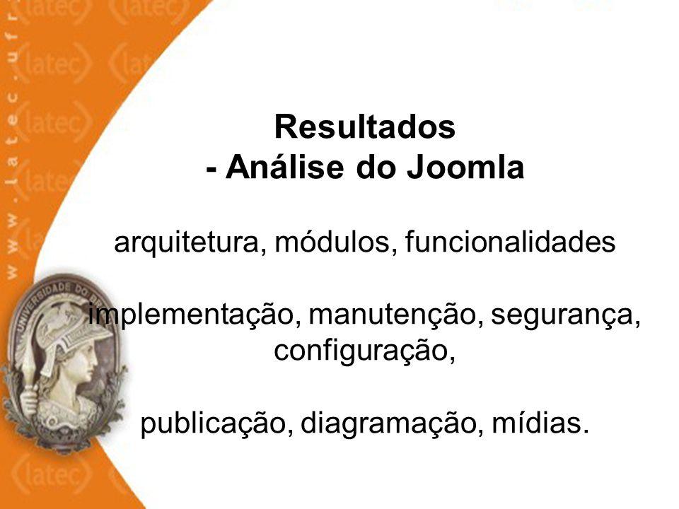 Resultados - Análise do Joomla arquitetura, módulos, funcionalidades implementação, manutenção, segurança, configuração, publicação, diagramação, mídi