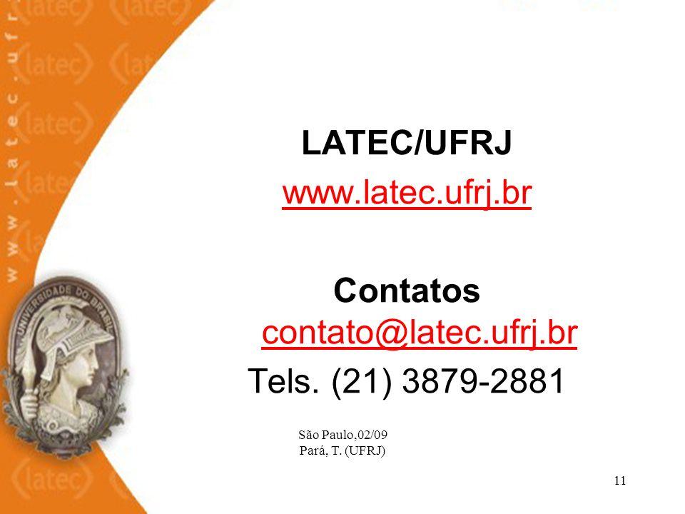 São Paulo,02/09 Pará, T. (UFRJ) 11 LATEC/UFRJ www.latec.ufrj.br Contatos contato@latec.ufrj.br contato@latec.ufrj.br Tels. (21) 3879-2881