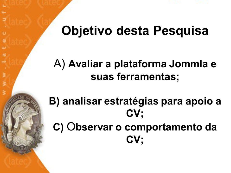 Objetivo desta Pesquisa A) Avaliar a plataforma Jommla e suas ferramentas; B) analisar estratégias para apoio a CV; C) O bservar o comportamento da CV