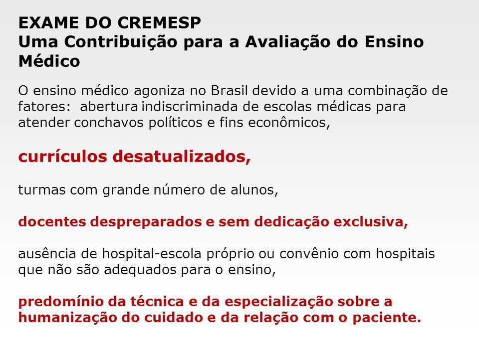 O ensino médico agoniza no Brasil devido a uma combinação de fatores: abertura indiscriminada de escolas médicas para atender conchavos políticos e fi