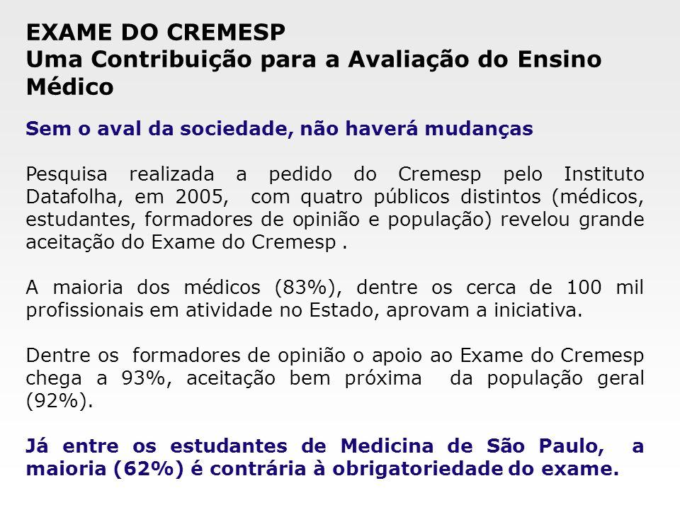 Sem o aval da sociedade, não haverá mudanças Pesquisa realizada a pedido do Cremesp pelo Instituto Datafolha, em 2005, com quatro públicos distintos (