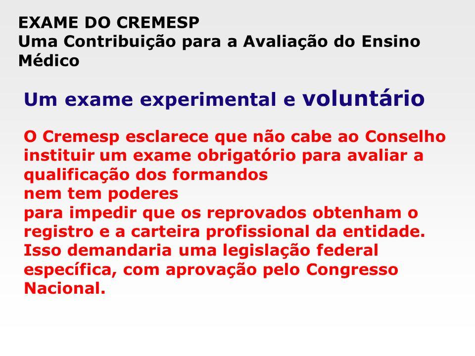 Um exame experimental e voluntário O Cremesp esclarece que não cabe ao Conselho instituir um exame obrigatório para avaliar a qualificação dos formand