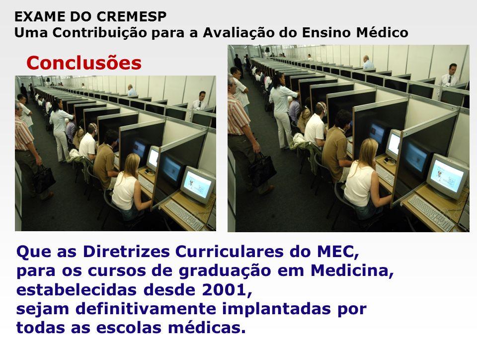 EXAME DO CREMESP Uma Contribuição para a Avaliação do Ensino Médico Conclusões Que as Diretrizes Curriculares do MEC, para os cursos de graduação em M