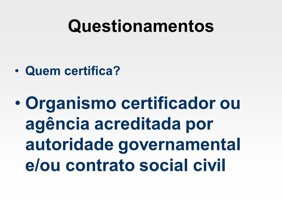 Questionamentos Quem certifica? Organismo certificador ou agência acreditada por autoridade governamental e/ou contrato social civil