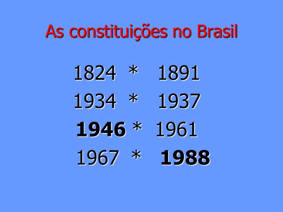 As constituições no Brasil 1824 * 1891 1934 * 1937 1946 * 1961 1967 * 1988 1967 * 1988
