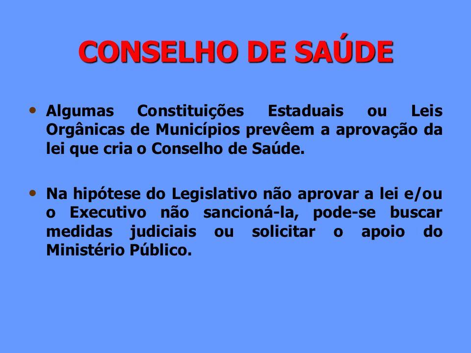 CONSELHO DE SAÚDE Algumas Constituições Estaduais ou Leis Orgânicas de Municípios prevêem a aprovação da lei que cria o Conselho de Saúde. Na hipótese