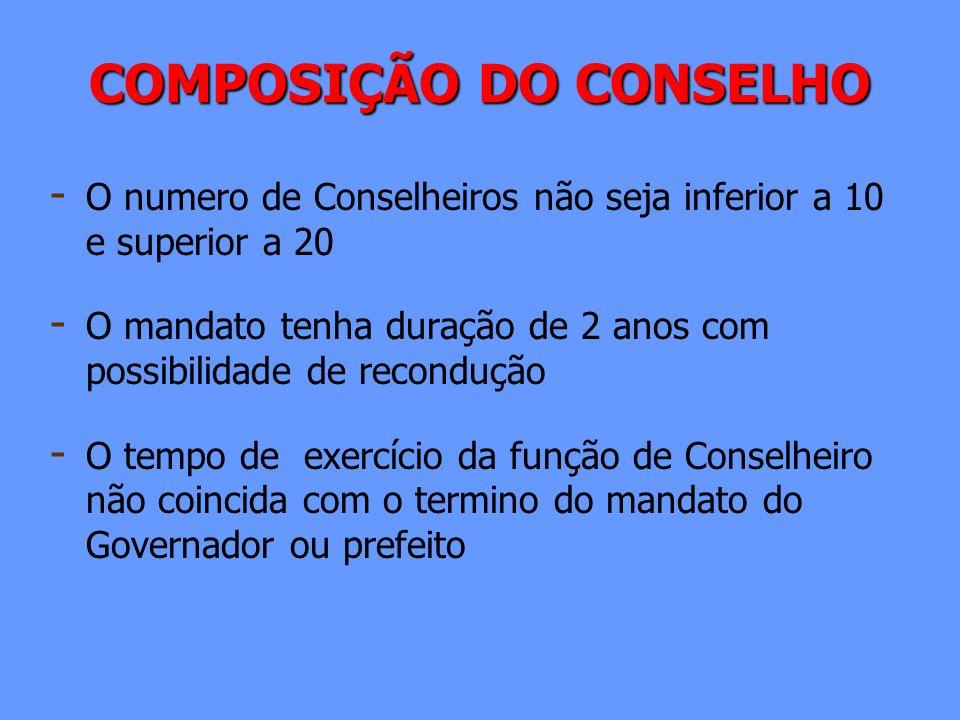 COMPOSIÇÃO DO CONSELHO - - O numero de Conselheiros não seja inferior a 10 e superior a 20 - - O mandato tenha duração de 2 anos com possibilidade de