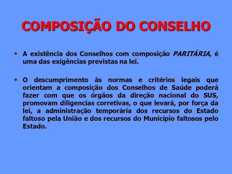 COMPOSIÇÃO DO CONSELHO A existência dos Conselhos com composição PARITÁRIA, é uma das exigências previstas na lei. O descumprimento às normas e critér
