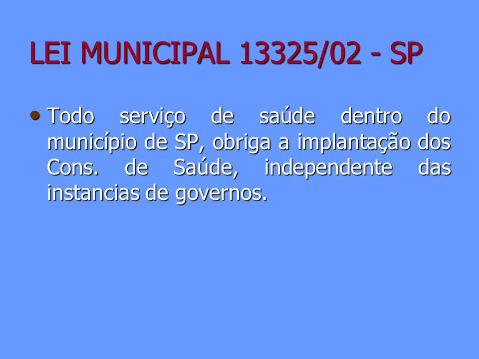 LEI MUNICIPAL 13325/02 - SP Todo serviço de saúde dentro do município de SP, obriga a implantação dos Cons. de Saúde, independente das instancias de g