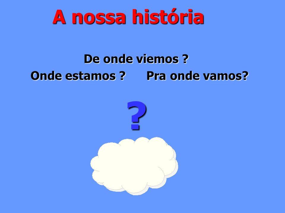 A nossa história De onde viemos ? Onde estamos ? Pra onde vamos? Onde estamos ? Pra onde vamos??