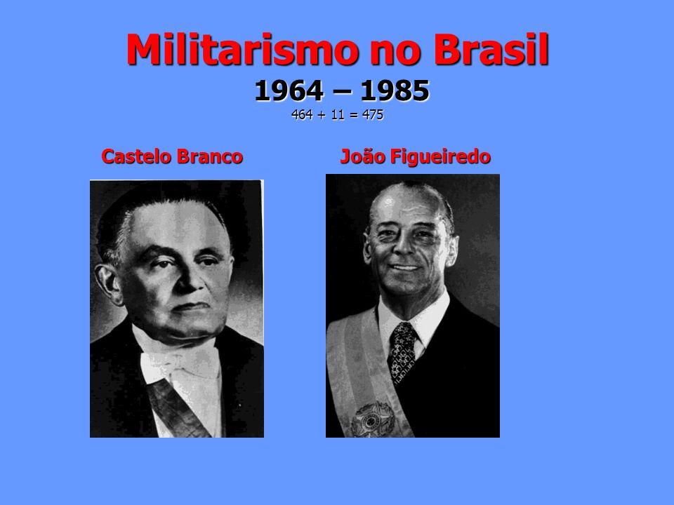 Militarismo no Brasil 1964 – 1985 464 + 11 = 475 Castelo Branco João Figueiredo Castelo Branco João Figueiredo