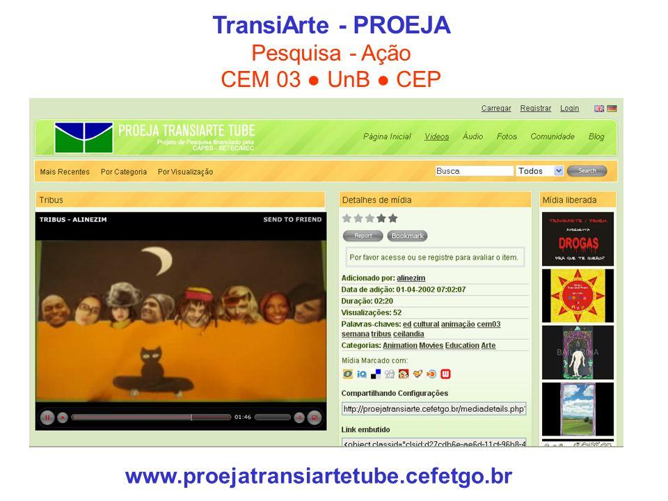 TransiArte - PROEJA Pesquisa - Ação CEM 03 UnB CEP www.proejatransiartetube.cefetgo.br