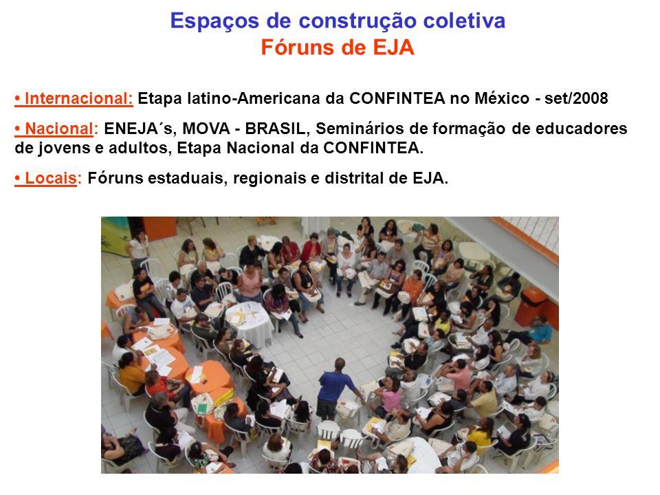 Espaços de construção coletiva Fóruns de EJA Internacional: Etapa latino-Americana da CONFINTEA no México - set/2008 Nacional: ENEJA´s, MOVA - BRASIL, Seminários de formação de educadores de jovens e adultos, Etapa Nacional da CONFINTEA.