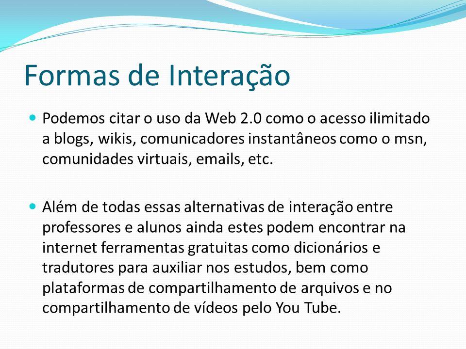 Formas de Interação Podemos citar o uso da Web 2.0 como o acesso ilimitado a blogs, wikis, comunicadores instantâneos como o msn, comunidades virtuais
