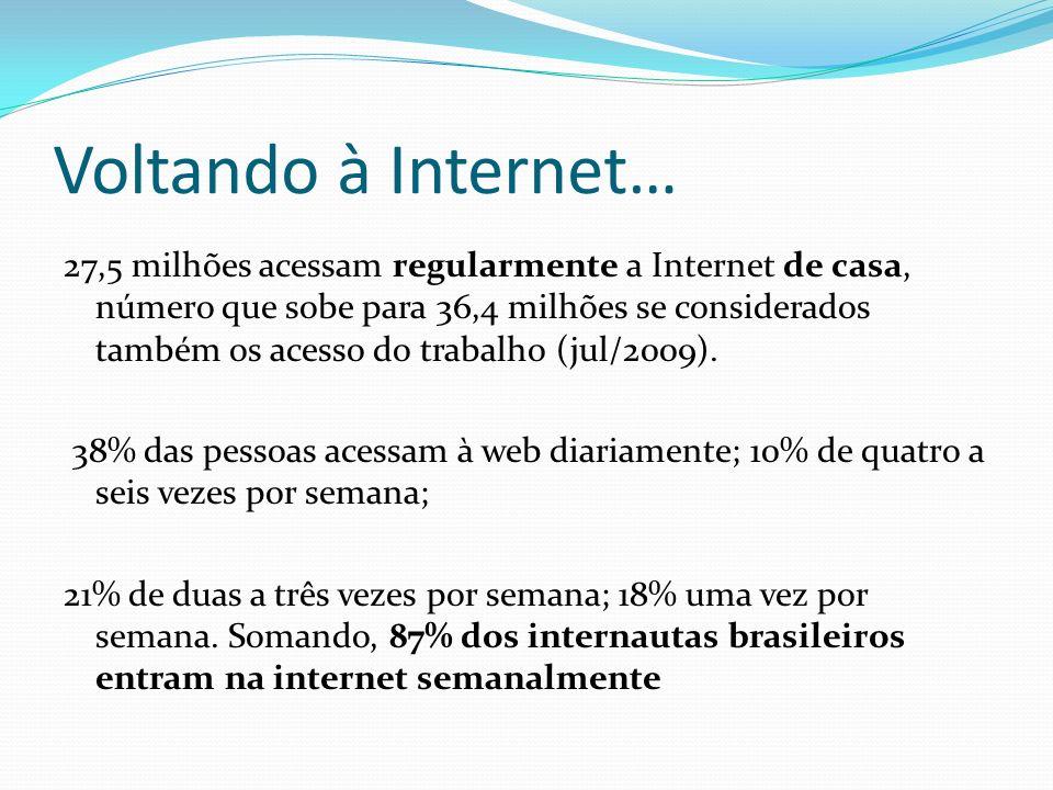 Voltando à Internet… 27,5 milhões acessam regularmente a Internet de casa, número que sobe para 36,4 milhões se considerados também os acesso do traba
